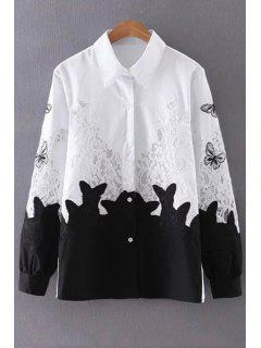 Lace Splice Turn Down Collar Manches Longues - Blanc Et Noir M
