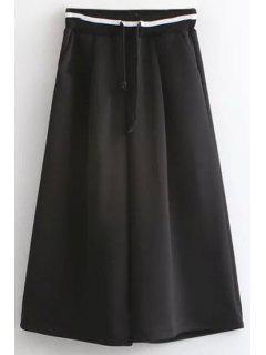 Loose Fitting Black Drawstring Culotte - Black L