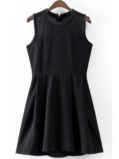 Solid Color Voile Spliced Round Neck Sleeveless Dress - Black L