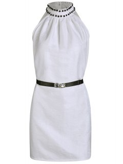 Solid Color Rivet Round Neck Sleeveless Dress - White