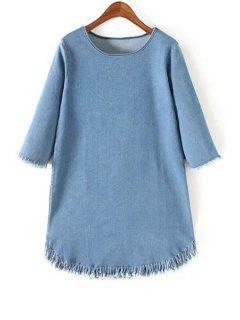 Fringes Round Collar 3/4 Sleeve Denim Dress - Light Blue L