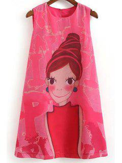 Cartoon Print Round Collar Sleeveless Dress - Rose M