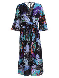 V Cuello Floral 3/4 Vestido Plisado De La Manga - Negro