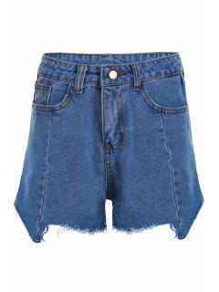 Stylish High Waist Denim Irregular Hem Women's Shorts - Light Blue L