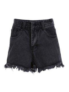 Stylish High Waist Denim Black Women's Shorts - Black L