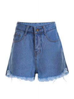 Stylish High Waist Light Blue Denim Women's Shorts - Light Blue L