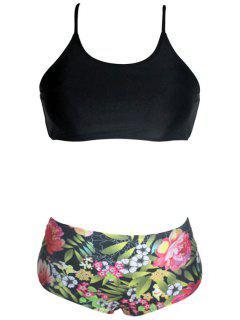Printed Lace-Up Spaghetti Straps Bikini Set - Black Xl