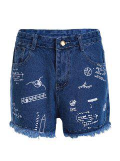Stylish High Waist Scrawl Print Denim Women's Shorts - Deep Blue S