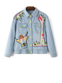 Denim Shirt Collar Long Sleeve Embroidery Jacket - Light Blue Xs