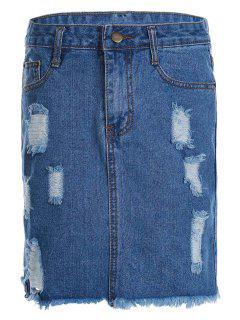 Stylish High Waist Broken Hole Denim Women's Skirt - Blue Xl