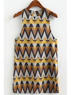 Stylish Round Neck Sleeveless Zig Zag Print Women's Sundress - M