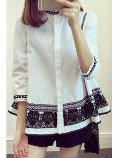 Faux Pearl Trapeze Ethnic Shirt - White 4xl