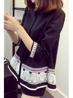 Faux Pearl Trapeze Ethnic Shirt - Black 3xl