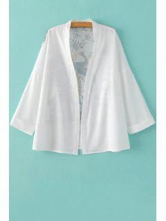 Floral Stand Neck Long Sleeve Kimono Blouse - White L