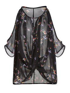 Butterfly Print See-Through Round Neck Chiffon Tank Top - Black L