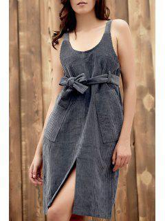 Double Pockets Scoop Neck Strap Corduroy Dress - Gray