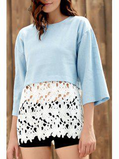 Three Quarter Sleeve Combined Lace Top - Bleu Xl