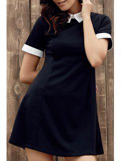 Color Block Turn Down Collar Short Sleeve Dress - Black L