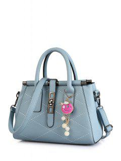 Checked Stitching Pendant Tote Bag - Light Blue