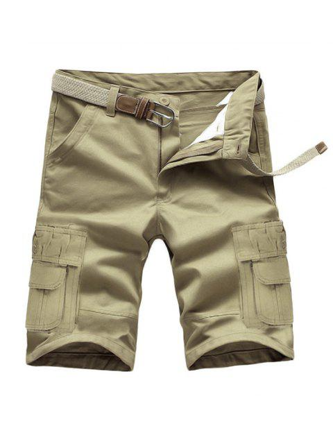 women Loose Fit Summer Pockets Solid Color Cargo Shorts For Men - LIGHT KHAKI 28 Mobile