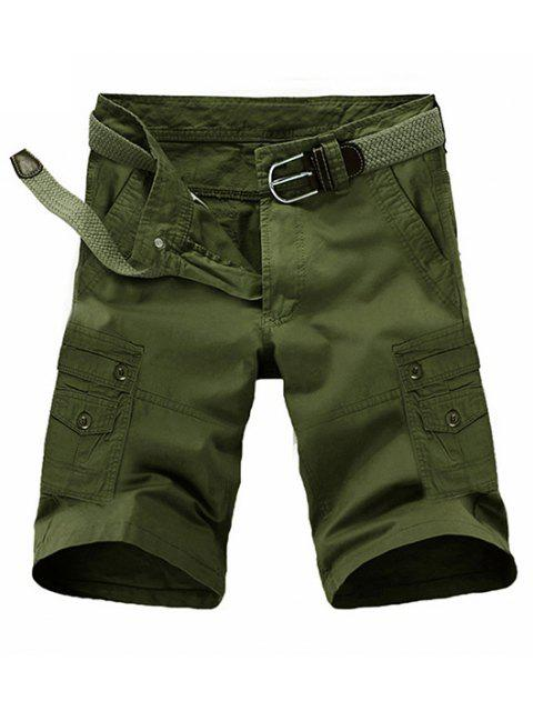 outfits Loose Fit Summer Pocket Solid Color Cargo Shorts For Men - ARMY GREEN 32 Mobile