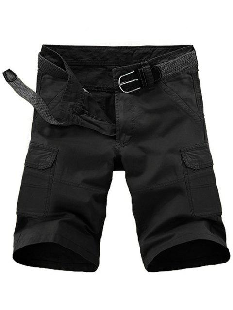 hot Loose Fit Pockets Solid Color Cargo Shorts For Men - BLACK 33 Mobile