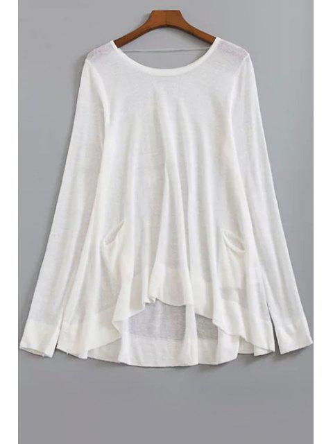 outfit Loose High-Low Round Neck Long Sleeve Sweater - WHITE ONE SIZE(FIT SIZE XS TO M) Mobile