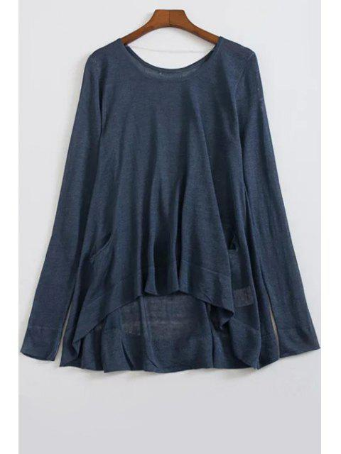 online Loose High-Low Round Neck Long Sleeve Sweater - CADETBLUE ONE SIZE(FIT SIZE XS TO M) Mobile