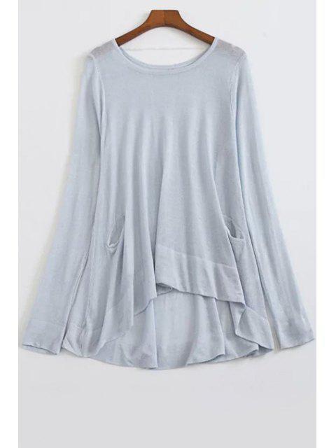 Weiter hoher niedriger Pullover mit Rundhalsausschnitt und Langarm - Hellblau Einheitsgröße(Geeign Mobile