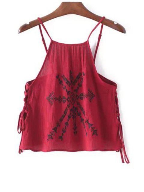 women Lace-Up Embroidery Spaghetti Straps Tank Top - RED S Mobile