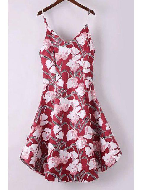latest Fitting Floral Print Spaghetti Straps Sleeveless Dress - RED L Mobile