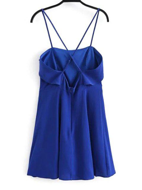 hot Fitting Solid Color Flounce Ruffles Cami Sleeveless Dress - BLUE L Mobile