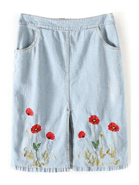 fancy Floral Embroidery Straight Denim Skirt - LIGHT BLUE S Mobile