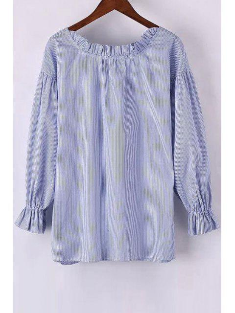 womens Sweet Striped Round Neck Long Sleeve Blouse - LIGHT BLUE L Mobile