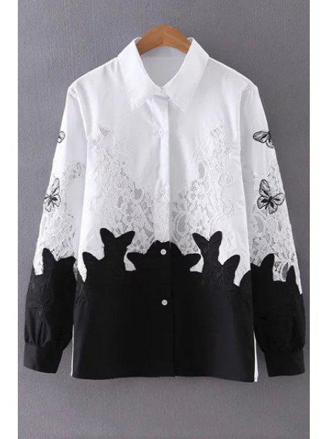 Empalme de encaje gira el collar abajo camiseta de manga larga - Blanco y Negro M Mobile