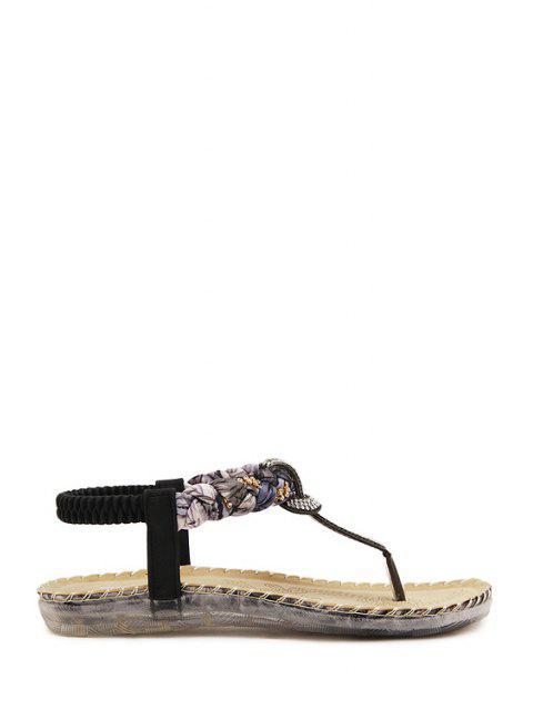 best Rhinestone Color Matching Elastic Sandals - BLACK 36 Mobile