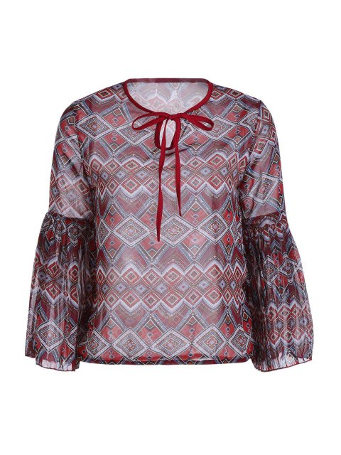 Ethnische Print Langarm Chiffon-Bluse - Ziegelrot Einheitsgröße(Geeign Mobile