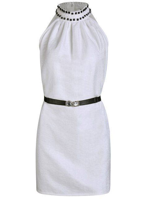 buy Solid Color Rivet Round Neck Sleeveless Dress -   Mobile