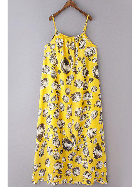 best Loose Flower Print Spaghetti Straps Sleeveless Dress - YELLOW S Mobile