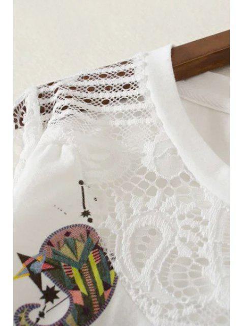 Dentelle épissage Col rond long T-shirt imprimé à manches - Blanc L Mobile