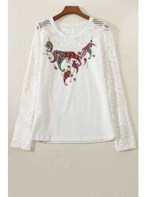 womens Lace Spliced Round Collar Long Sleeve Printed T-Shirt - WHITE L Mobile