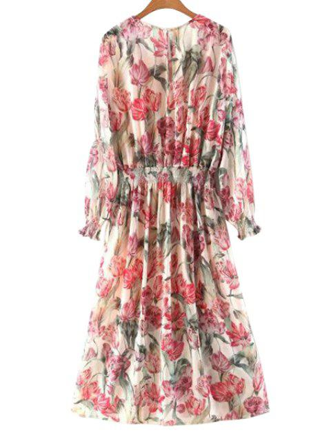 shops Floral Long Sleeve Blouson Dress - COLORMIX M Mobile