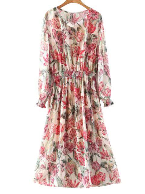 latest Floral Long Sleeve Blouson Dress - COLORMIX L Mobile