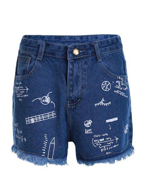 lady Stylish High Waist Scrawl Print Denim Women's Shorts - DEEP BLUE S Mobile