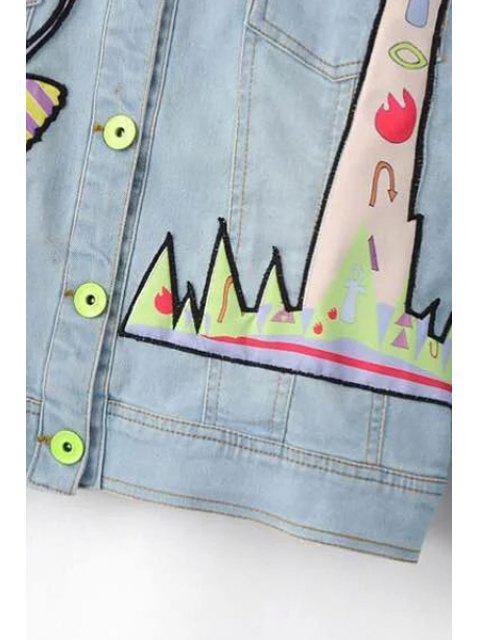 shops Denim Shirt Collar Long Sleeve Embroidery Jacket - LIGHT BLUE S Mobile