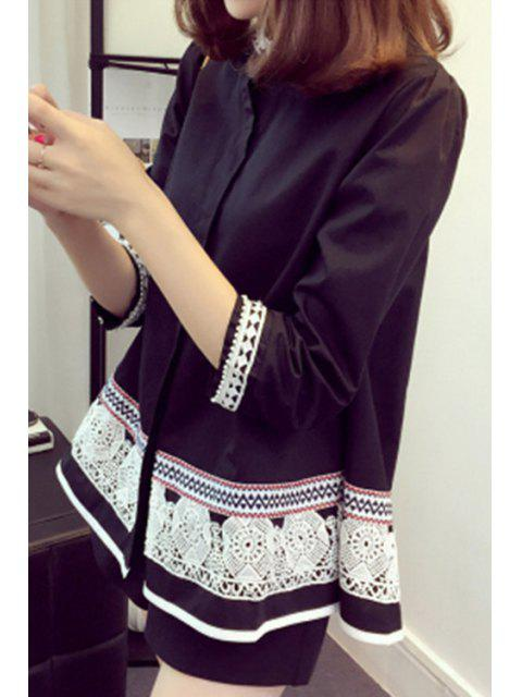 Con cuentas camisa de manga 3/4 A-Line - Negro 3XL Mobile