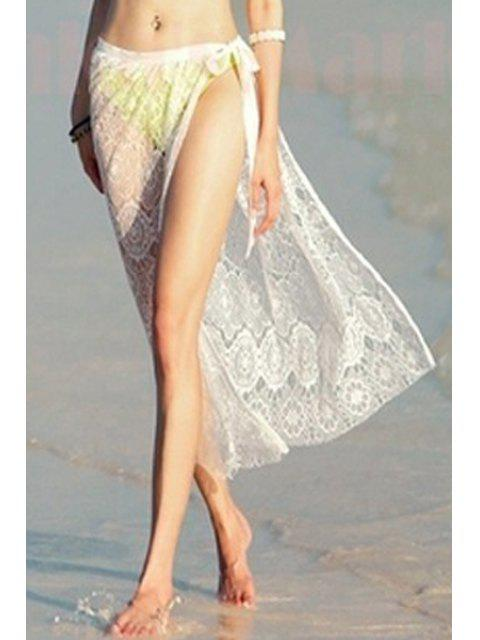 latest White See-Through Low Waist Lace Skirt - WHITE ONE SIZE(FIT SIZE XS TO M) Mobile