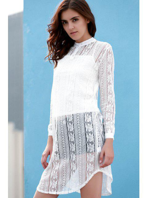 outfits White Spaghetti Straps and See Through Stand Neck Long Sleeve Lace Twinset - WHITE S Mobile
