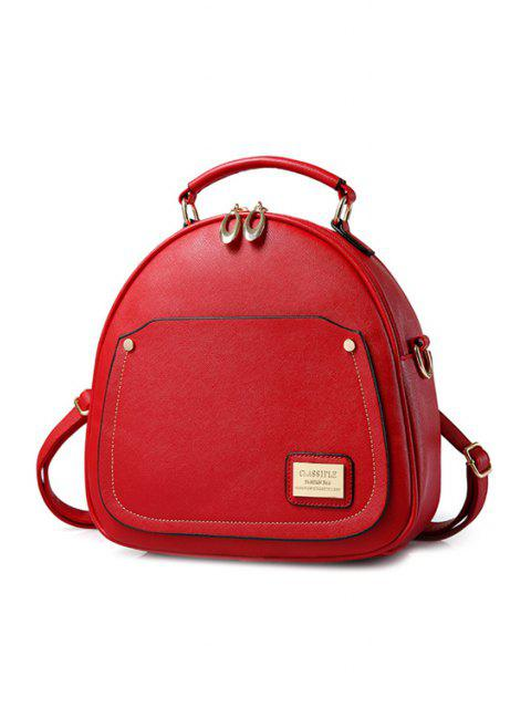 Satchel de Solid Color Coutures Femmes Métal - Rouge  Mobile