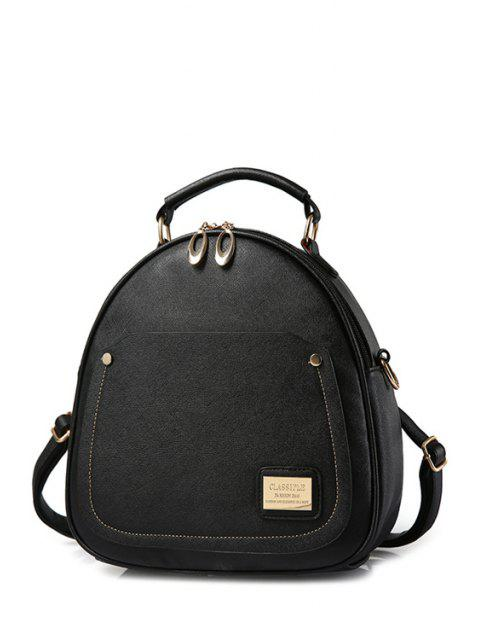 ladies Solid Color Stitching Metal Satchel - BLACK  Mobile